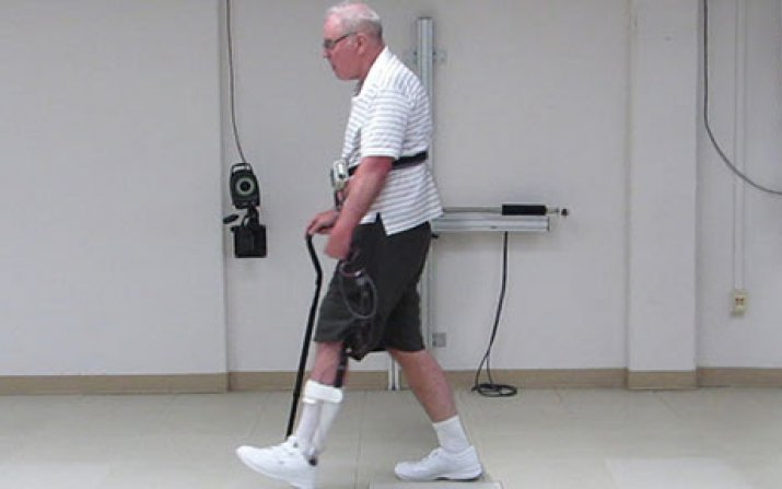 Patient walking with assistance from neural stimulation system